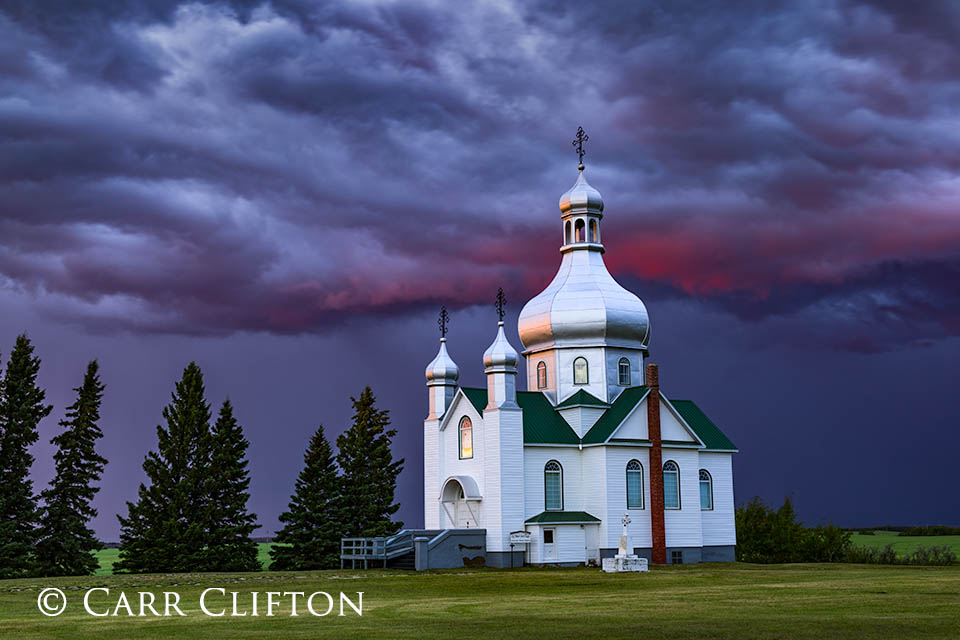 Thunderstorm at Dusk, Peter and Paul Ukrainian Orthodox Church, Insiger, Saskatchewan, Canada